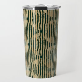 Zen Circles Block Print In Green and Gold Travel Mug