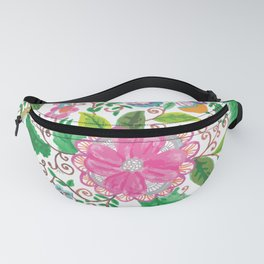 Hand made watercolor pink agate green floral Fanny Pack