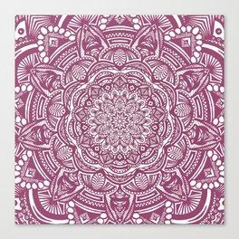 Wine Maroon Ethnic Detailed Textured Mandala Canvas Print