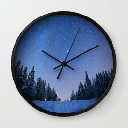 Blue Night Stars Wintry Forest Wall Clock