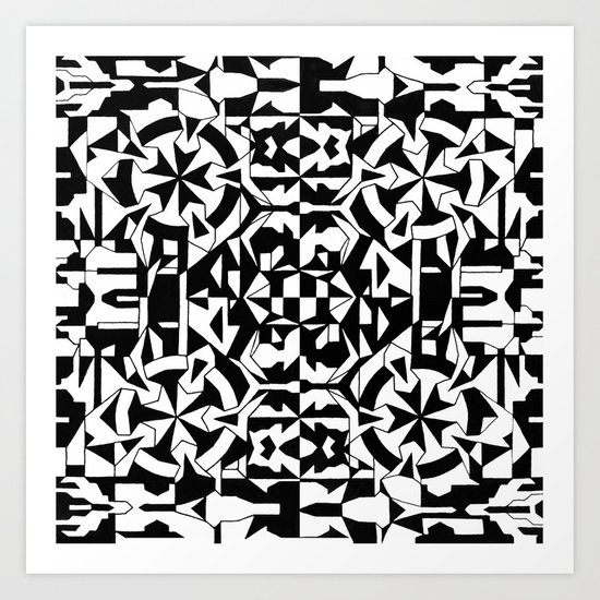 Black and White Square 1 Art Print