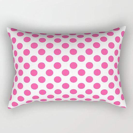 Pink polkadots dots circles on white background Rectangular Pillow