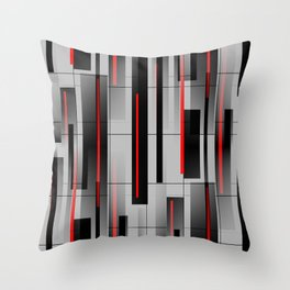 Off the Grid - Abstract - Gray, Black, Red Throw Pillow