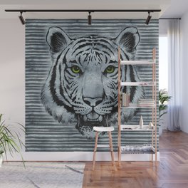 White Tiger on Frost glass background Wall Mural
