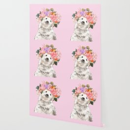 Baby Polar Bear with Flowers Crown Wallpaper