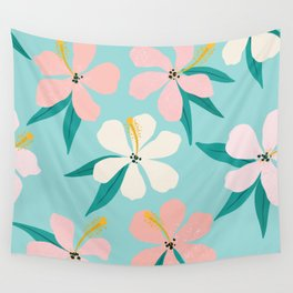 Sweet Tropical Flower Pattern on Sky Blue Wall Tapestry