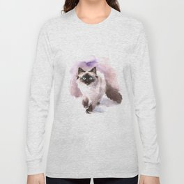 Watercolor Siamese Cat Long Sleeve T-shirt