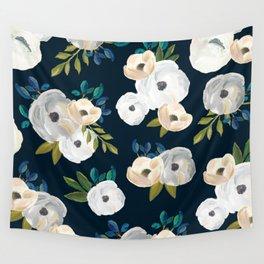 Midnight Florals - Blue & Cream Wall Tapestry