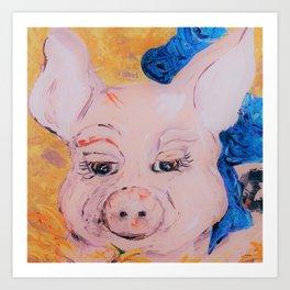 Blue Ribbon Pig Art Print