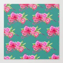 A FLORAL LOVE  (TURQ/LRG) Canvas Print