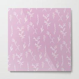 Modern spring pink lavender floral twigs hand drawn pattern Metal Print