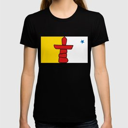 Nunavut territory flag- Authentic version with Inukshuk and blue star T-shirt