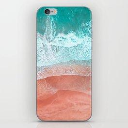 The Break - Turquoise Sea Pastel Pink Beach II iPhone Skin