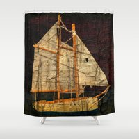 sailboat Shower Curtains featuring Rustic Sailboat by Michael P. Moriarty