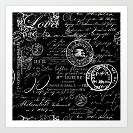 White Vintage Handwriting on Black Art Print