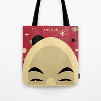 picard Tote Bags featuring Star Trek TNG Jean Luc Picard Enterprise by jake
