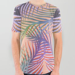 Palm Leaves Pattern - Purple, Peach, Blue All Over Graphic Tee