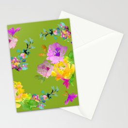Bright Watercolor Floral Pattern Stationery Cards