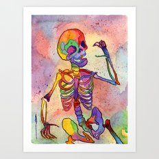 Rainbow Skeleton Art Print