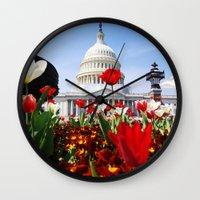 patriotic Wall Clocks featuring Patriotic Tulips by Madison Webb