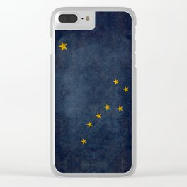 Alaskan State Flag, Distressed worn style Clear iPhone Case