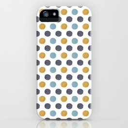Mustard Yellow / Light Blue / Navy Watercolor Polka Dots Multi Colored iPhone Case