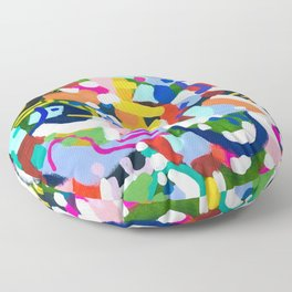 'Emerald City' Original Abstract Painting by Ejaaz Haniff Fun Colorful Shapes Pattern Pastel Rainbow Colors Acrylic Painting Floor Pillow