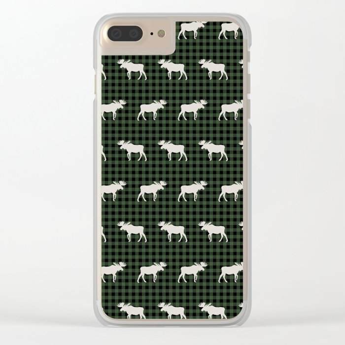 Moose northwest camping cabin chalet pattern plaid hunter green Clear iPhone Case