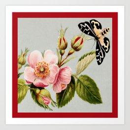 Flower and Moth Art Print