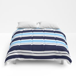 Blue Navy and Turquoise Stripes Comforters