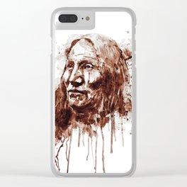 Native American Portrait Sepia Tones Clear iPhone Case