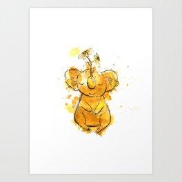 Koala Chamomile Watercolour Illustration Art Print