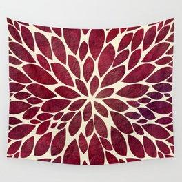 Petal Burst - Maroon Wall Tapestry