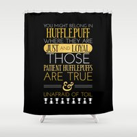 hufflepuff Shower Curtains featuring Hufflepuff by Dorothy Leigh