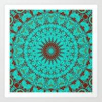 Mandala Fractal in Oxidized Copper 2 Art Print
