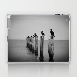 Black and White birds on a post photography Laptop & iPad Skin