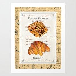 Pastries-Croissants Art Print