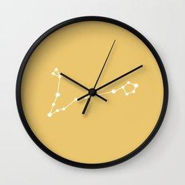 Pisces Zodiac Constellation - Golden Yellow Wall Clock