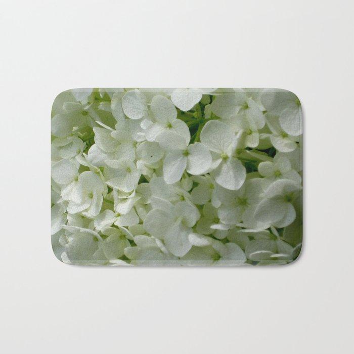 White Hydrangia Blossom Bath Mat