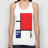 mondrian Tank Tops featuring Mondrian TARDIS by Sama B