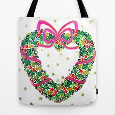Xmas Heart Wreath Tote Bag