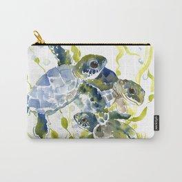 Turtle Baby Sea Turtles, underwater scene olive green, green indigo blue children Carry-All Pouch