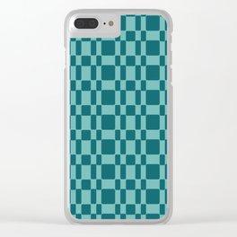 Retro 1950's Stitch Fabric Pattern Aquamarine Clear iPhone Case