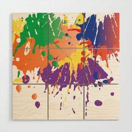 Colourful Paint splash Wood Wall Art