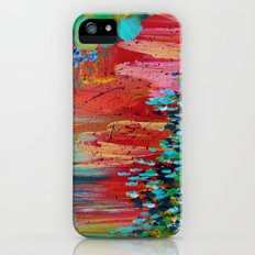 REVISIONED RETRO - Bright Bold Red Abstract Acrylic Colorful Painting 70s Vintage Style Hip 2012 iPhone (5, 5s) Slim Case