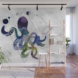 Galaxy Octopus on marble background Wall Mural
