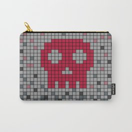 Red Pixel Skull Carry-All Pouch