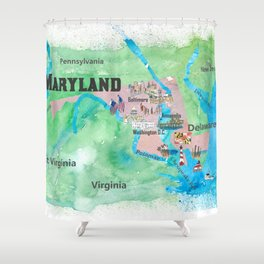 USA Maryland State Travel Poster Map with Touristic Highlights Shower Curtain