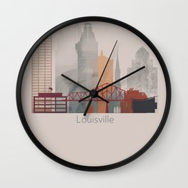 Warm Vertical Louisville skyline design Wall Clock