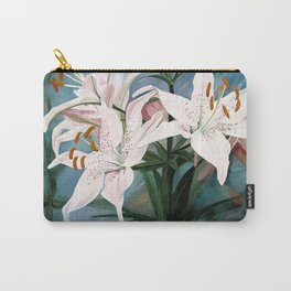 Watercolor Botanical Garden Flower White Lilies Carry-All Pouch
